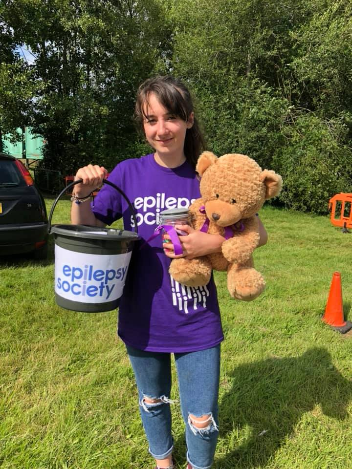 girl with epilepsy society t-shirt on fundraising