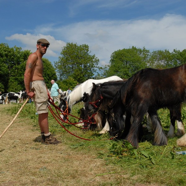 gypsy man and and horse at Appleby Fair