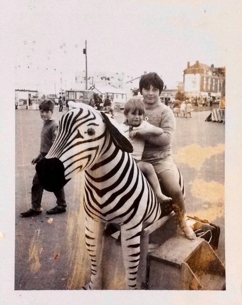 Chris Smith and a neighbours boy at the seaside in Barry, South Wales 1969
