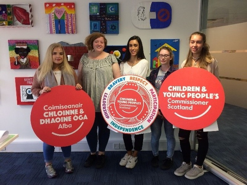 5 young Traveller girls holding signs say Children and Young peoples comissioner Scotland