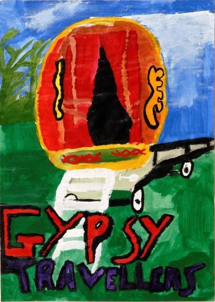 Kids drawing of a colourful wagon with letters written on teh bottom of the drawing saying Gypsy Travellers