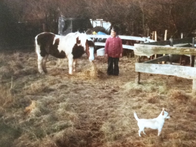 Chris Smith's mam Elizabeth(Betty)Smith with her favourite horse Elsa and her dog Toby 1980's