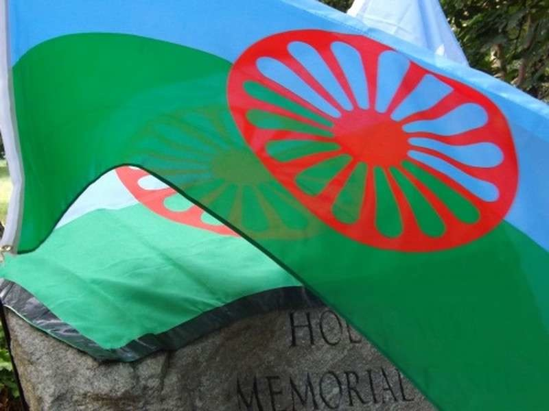 Romani flags at the Holocaust Memorial Gardens, Hyde Park, London on August 2nd Roma Holocaust Remembrance Day © free please credit TT/Mike Doherty