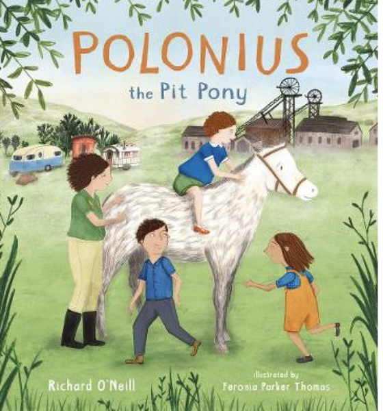 Polonius the pit pony. A white horse with four children happily standing around it.