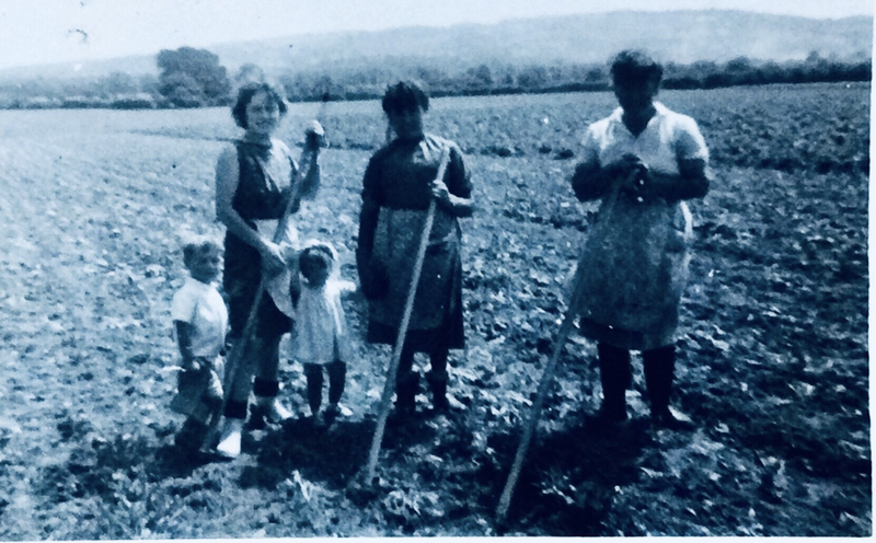 Chris Smith's Aunts Louise and Mary (his Dads Sisters with Mrs Barnes and her children in the mid 1960s at Shawle Court Farm