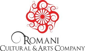 Romani Cultural and Arts Logo red wagon wheel with 4 swirls around it