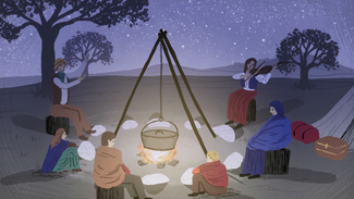 Drawing of a gypsy camp fire