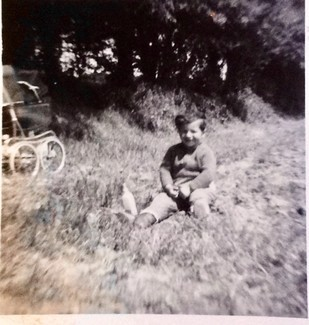 Chris Smith in the strawberry field at Yarkhill Farm, aged two