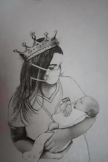 Drawing of a nurse and baby