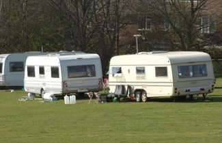 Traveller camp in Brighton