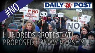 An anti-Traveller site demonstration in Wales