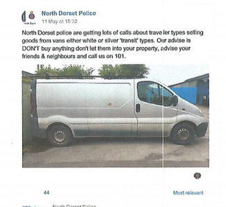 The offending post that was put up by North Dorset Police on their Facebook page