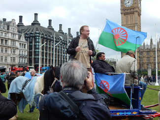 Phien O' Reachtigan of The Gypsy and Traveller Coalition at the Dosta, Grinta, Enough! - Gypsy and Traveller rights rally at Parliament in 2016