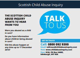 The Scottish Child Abuse Inquiry advert that will appear in the November Travellers' Times Magazine