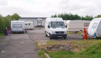 Traveller camp stock shot