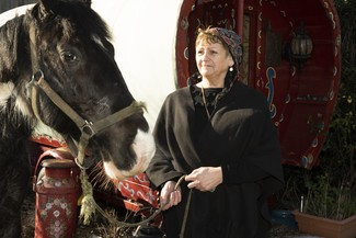 Granny (Betty Smith-Billington) with the horse (Elvis) Photograph Owen Tuckett