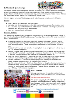 Self-isolation and quarantine tips from Traveller Pride – also available at www.lgbttravellerpride.com