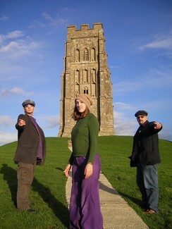 Brickshed promo pic, at Glastonbury Tor. Chris Smith (stage name, Walter Brick), Les Scarrott (stage name, Lez Shed) and Lorna Davies, (stage name, Luna Pa) 1994