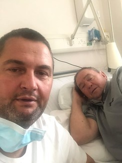 Down but not out: John (right) and Johnny (left) Frankham recovering from Coronavirus in Frimley Park Hospital, Berkshire.